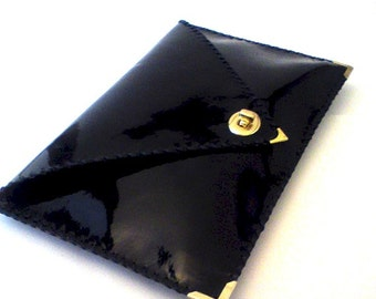Black patent leather clutch / Handmade leather bag / Envelope clutch / Black leather clutch