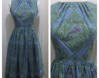 Hello Lovely / Vintage 1950s Blue and Green Diamond and Paisley Print Dress / Small