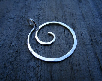 Sterling Whirlpool Charm Holder - Ring Holder Pendant - Free Form Sterling Wire Work