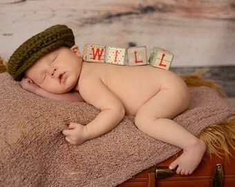 Baby Boy Hat 0 to 3 Month Irish Donegal Cap Baby Hat Crochet Donegal Hat Olive Green Photography Prop Baby Boy Photo Prop Baby Boy Clothes