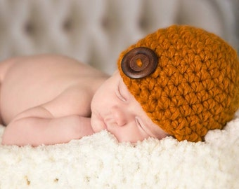 Newborn Baby Hat Newborn Hat Newborn Baby Girl Hat Newborn Baby Boy Hat Butterscotch Baby Hat Wood Button Baby Beanie Baby Clothes Baby Gift