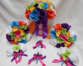 Wedding Silk Flower Bridal Bouquets 18 pcs Package Hot Pink Orange Turquoise White Yellow Bridesmaids  Boutonnieres Corsages FREE SHIPPING