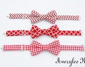 Red and White Bow Ties for Boys, Chevron Bow Tie, Houndstooth Bowtie, Infant, Toddler, Youth, Wedding Ring Bearer , Valentine's Bow Tie