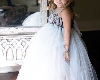 Girl dress Flower Girl Dress Grey Ivory tutu dress baby dress toddler birthday dress wedding dress 1T - 9T