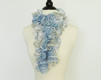 Ruffle Scarf Knit Fashion Frilly Scarf Blue, Silver, White - Girls Scarf, Accessories, Womens Scarf, Gifts For Her, Teen Scarf