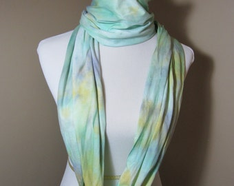 "Hand dyed mint green and yellow infinity jersey knit cotton scarf -  ""Lemons and Mint"""