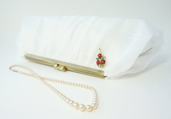 Romantic White Chiffon Bridal Clutch Handbag - Evening Purse- Includes Chain and Vintage Pin - Ready to Ship