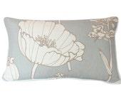 Kravet Lumbar Pillow Cover in Light Blue Poppy field Linen with Ivory Piping