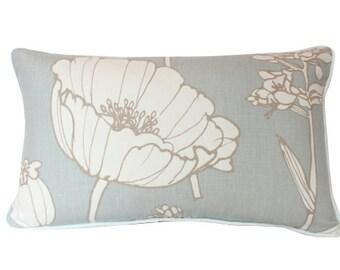 Kravet Lumbar Pillow Cover in Light Blue Poppyfield Linen with Ivory Piping
