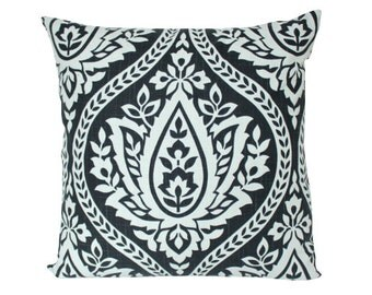 Black and White Large Damask Decorative Pillow Cover