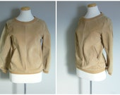 Vintage SUEDE POPOVER TOP in Sandy Beige Suede/Ribbed Hem/with Pockets/size Small-Medium
