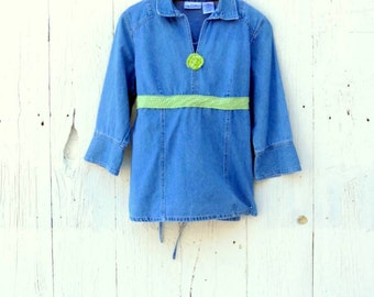 Chambray Shirt - Womens tunic top - Denim shirt - size med  upcycled clothing - materinity shirts - babydoll top for ladies