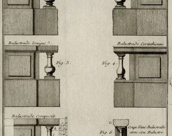 1779 Antique print of ARCHITECTURE: BALUSTERS. BALUSTRADE. Spindle. Stair stick . 237 years old Diderot Encyclopaedia copper engraving