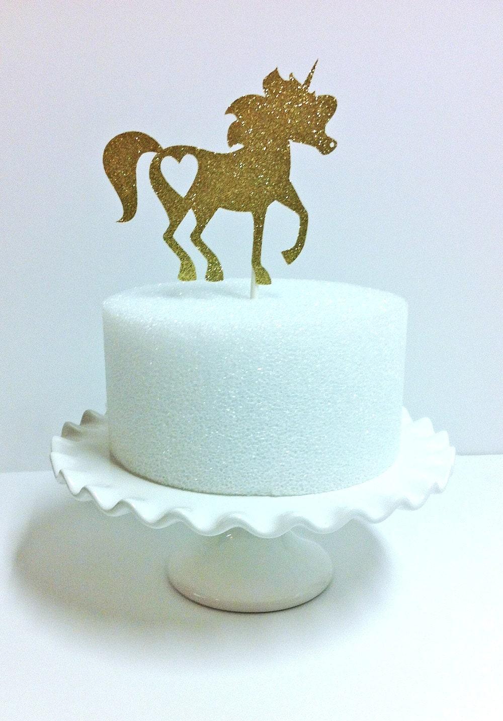 Etsy Cake Decor : Gold Unicorn Cake Topper Centerpiece
