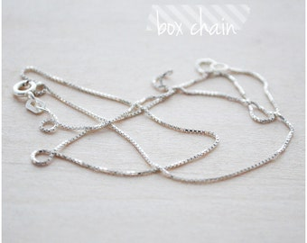 "Sterling Silver Box Chain - Plain Silver Necklace - 16"" or 18"" Box Chain Necklace - Add on Silver Chain"