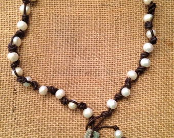 Leather Freshwater Pearl and Spoon Handle Necklace
