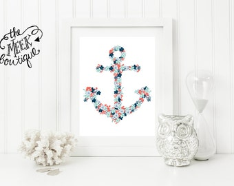 INSTANT DOWNLOAD, Floral Anchor, Nautical Whimsical Printable, No. 353