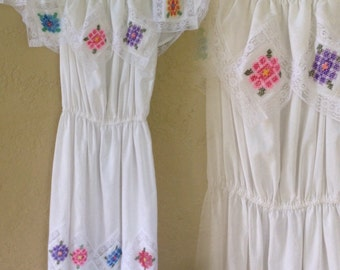 SALE Vintage Mexican white sheer lace embroidered maxi dress