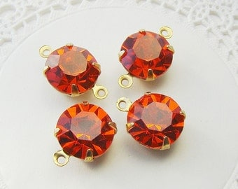 Preciosa 11mm Hyacinth Orange Rhinestones in Brass Settings Drop or Connector - 4