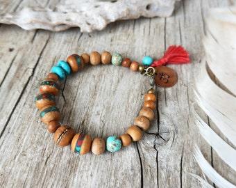 Om bracelet - yoga bracelet - stacking bracelet - ethnic jewelry - bohemian bracelet