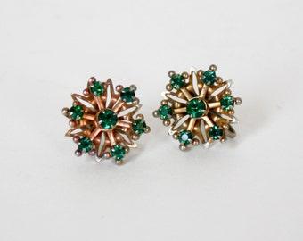 Vintage Goldtone and Green Stone Flower Earrings