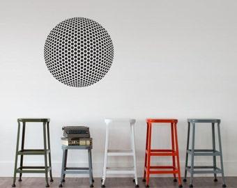 Spherical Geodesic Grid vinyl wall decal removable wall decor - Optical Illusion geometric art (ID: 151009)