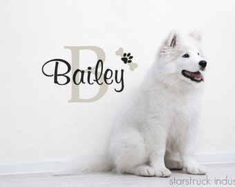 Dog Name Wall Decal Personalized Custom Home Decor Wall Art