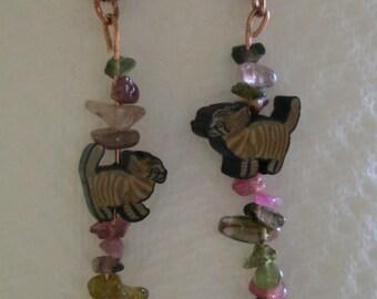 Tourmaline & Fimo Clay Cat Earrings
