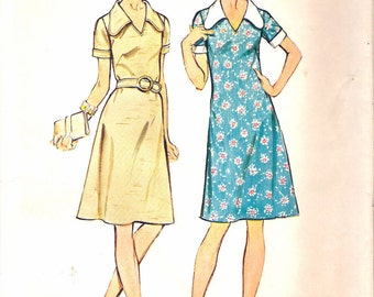 Vintage 1973 Simplicity 5669 Jiffy Dress & Belt Sewing Pattern Size 16 Bust 38""