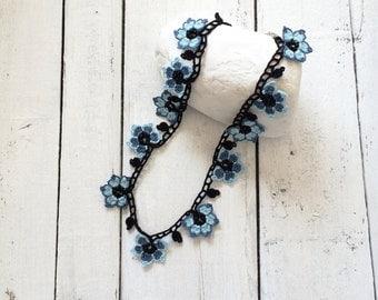 Blue Beaded Choker, Oya Crochet Necklace, Flower Statement Collar, Beaded Jewelry, Women's Gift, Crochet Jewellery, Beadwork, ReddApple