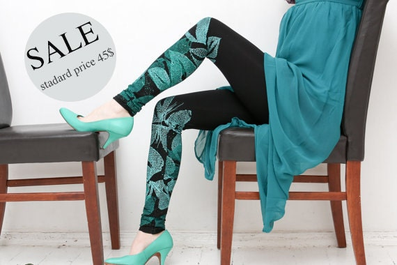 20% SALE - emerald/black leggings with emerald green butterfly print