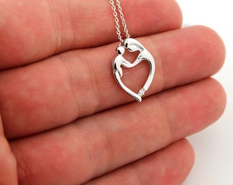 Sterling silver Mother and Child necklace Family pendent with cubic zirconia stone (N-19)