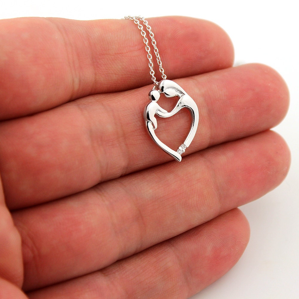 Sterling silver mother and child necklace family pendent with for L love jewelry reviews
