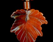 Hand Carved Autumn Leaf Jewelry Pendant Necklace 2135