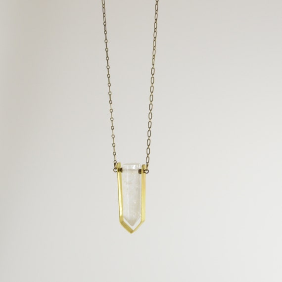 """Clear Quartz Crystal Point Necklace with 28"""" Brass Chain"""