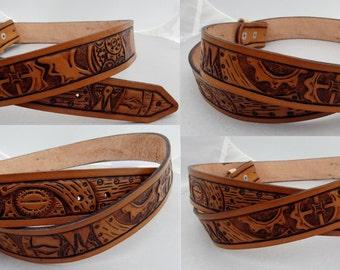 Custom Hand Tooled Leather Belt. Your image/design or idea.