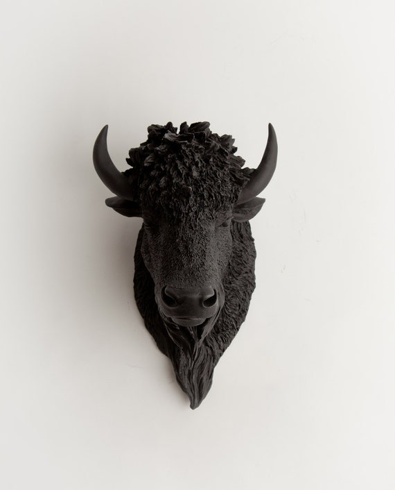 Bison Head, The Manstad, Black Resin Bison Head- Faux Buffalo Head In Black  by White Faux Taxidermy Heads