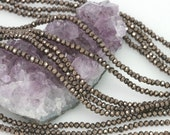 Lot of 5 strands 3x2.5mm Metallic Gunmetal Chinese Glass Rondelle Loose Spacer Beads 100 beads/strand (BH5199)