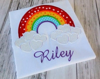 Rainbow Hearts Cloud Valentines Day Shirt or Onesie - Custom Monogrammed Personalized Clothes