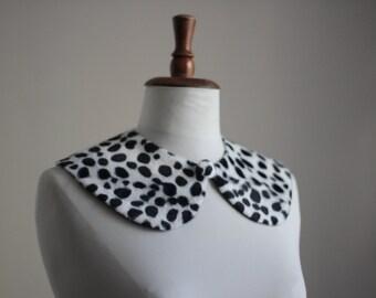 Dalmatian fur fabric wide Peter Pan collar,Detachable collar