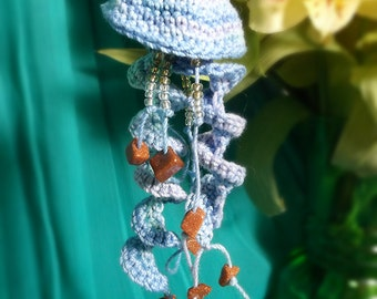 Crochet Lace Jellyfish Earrings - Variegated Blue