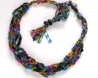Multicolor Ladder Yarn Necklace, Crocheted Ribbon Necklace, Handmade Necklace, Textile Necklace, Fiber Jewelry, Ready to Ship