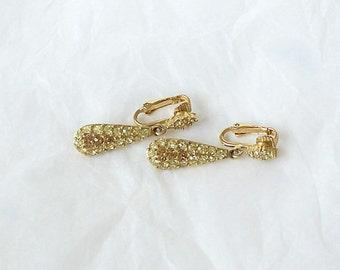 Vintage Peridot Topaz Rhinestone Earrings Clip on Gold Tone