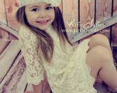 Ivory Lace Dress- Flower Girl, Ivory, Wedding, Outfit, Birthday, Girl, Toddler, country, rustic dress, white, pink, red, 62