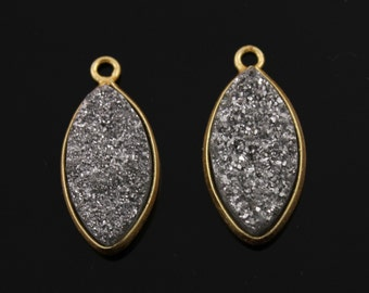 Shimmering Silver Druzy with Shiny Dazzle, Marquise Pendant w/ Single Bail set in Gold Vermeil, A+ Quality 10x20mm, 1 Piece (DZY/MAR/SIL)
