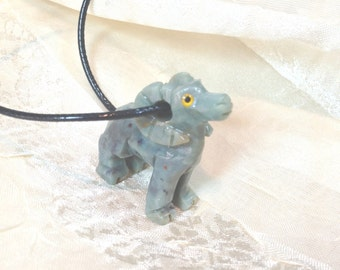 Upcycled Vintage Turquoise Ram Necklace Hand Carved Aries Mountain Sheep Year of the Sheep Chinese New Year
