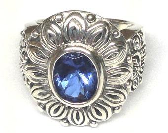 Alexandrite Ring FULL Color Shift Purple Blue in Sterling Silver Flower Setting