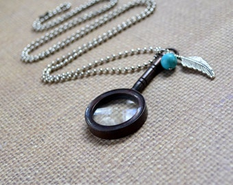 Magnifying Glass Boho Necklace Turquoise Howlite Mini Steampunk Long Pendant Silver Feather Ball Chain Bohemian Layering Free Shipping