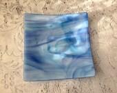 Fused Glass Dish, Sky Blue Lavender Aqua Plate, Art Glass Serving Dish - 089