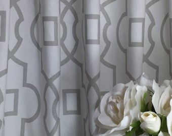"CURTAIN DRAPERIES - A pair of Custom Curtains Bordeaux French Gray Light Gray and white background  50"" wide X up to 108"" Long"